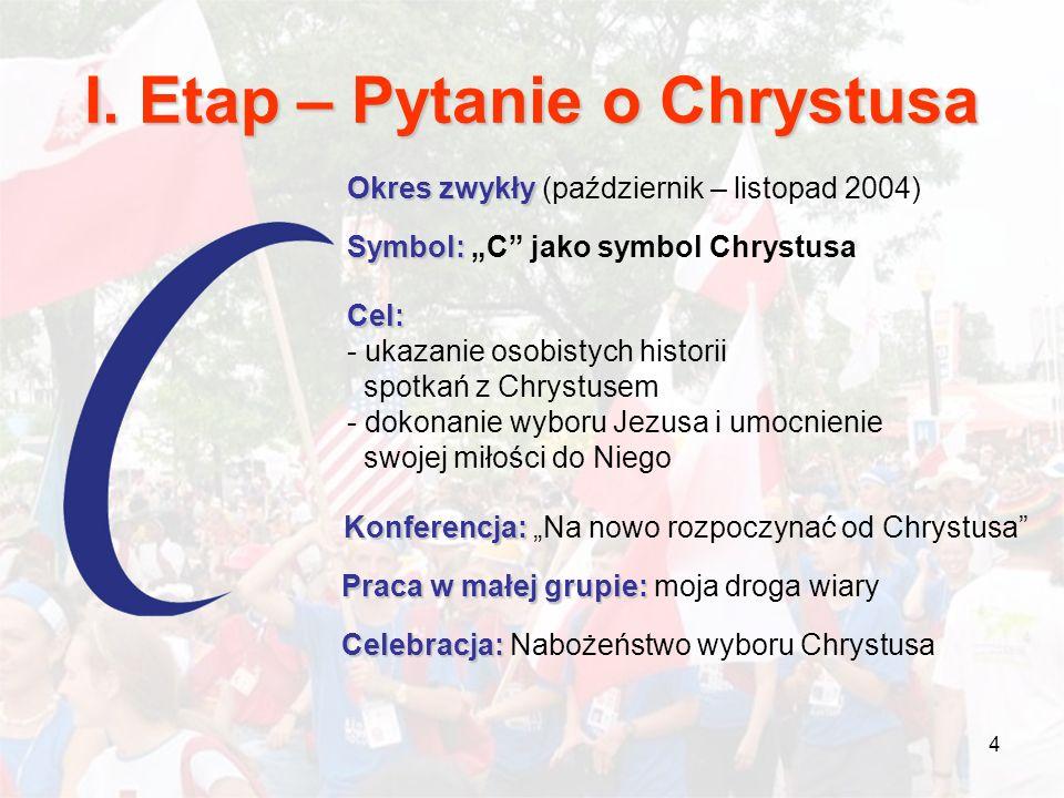 4 I. Etap – Pytanie o Chrystusa Okres zwykły Okres zwykły (październik – listopad 2004) Symbol: Symbol: C jako symbol Chrystusa Cel: - ukazanie osobis