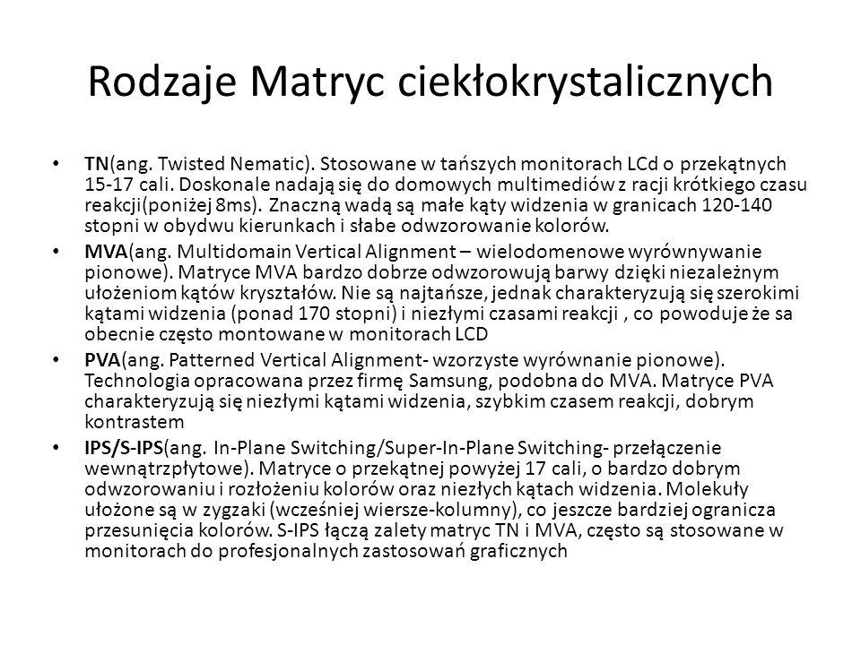 Rodzaje Matryc ciekłokrystalicznych TN(ang. Twisted Nematic). Stosowane w tańszych monitorach LCd o przekątnych 15-17 cali. Doskonale nadają się do do