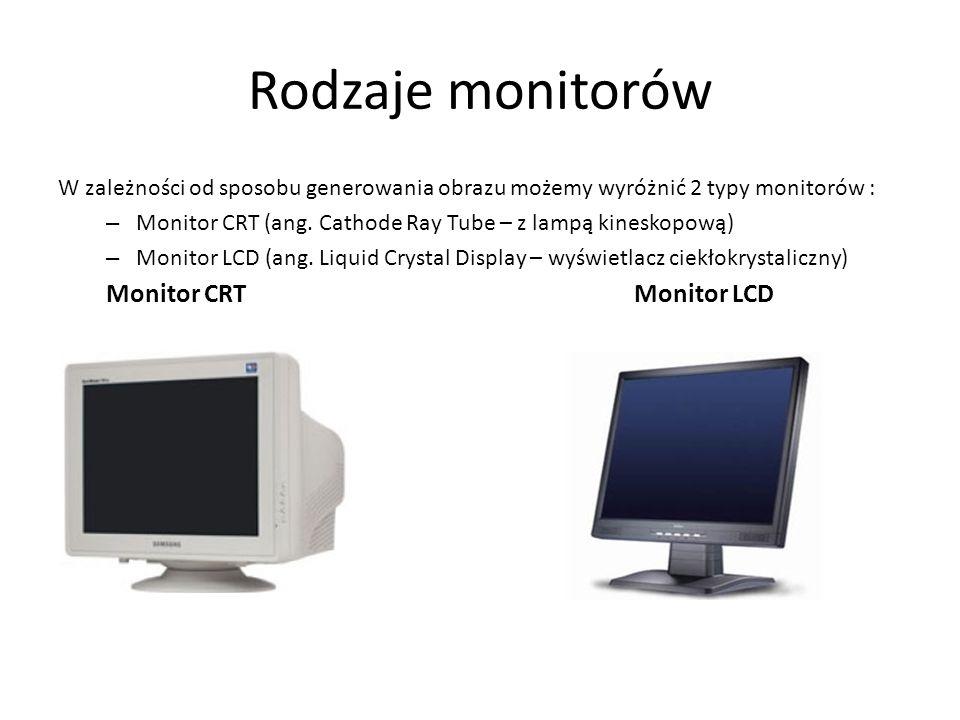 Rodzaje monitorów W zależności od sposobu generowania obrazu możemy wyróżnić 2 typy monitorów : – Monitor CRT (ang. Cathode Ray Tube – z lampą kinesko