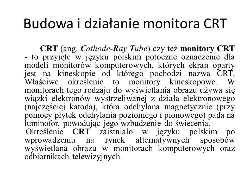 Budowa i działanie monitora CRT CRT (ang. Cathode-Ray Tube) czy też monitory CRT - to przyjęte w języku polskim potoczne oznaczenie dla modeli monitor