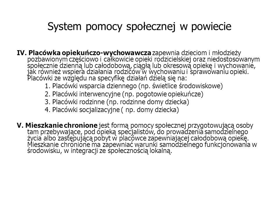 System pomocy społecznej w powiecie IV.
