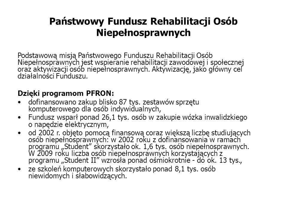 Państwowy Fundusz Rehabilitacji Osób Niepełnosprawnych Podstawową misją Państwowego Funduszu Rehabilitacji Osób Niepełnosprawnych jest wspieranie rehabilitacji zawodowej i społecznej oraz aktywizacji osób niepełnosprawnych.
