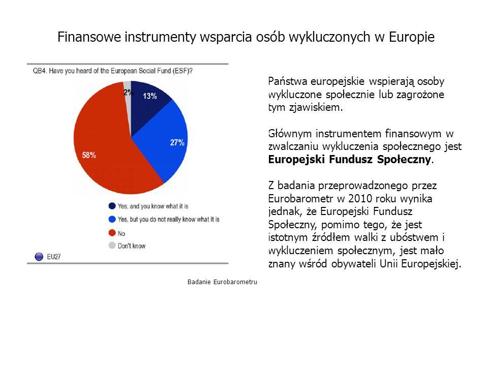 Państwa europejskie wspierają osoby wykluczone społecznie lub zagrożone tym zjawiskiem.