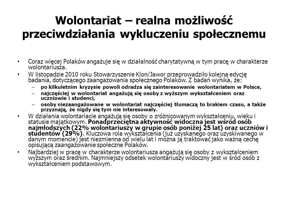 Wolontariat – realna możliwość przeciwdziałania wykluczeniu społecznemu Coraz więcej Polaków angażuje się w działalność charytatywną w tym pracę w charakterze wolontariusza.