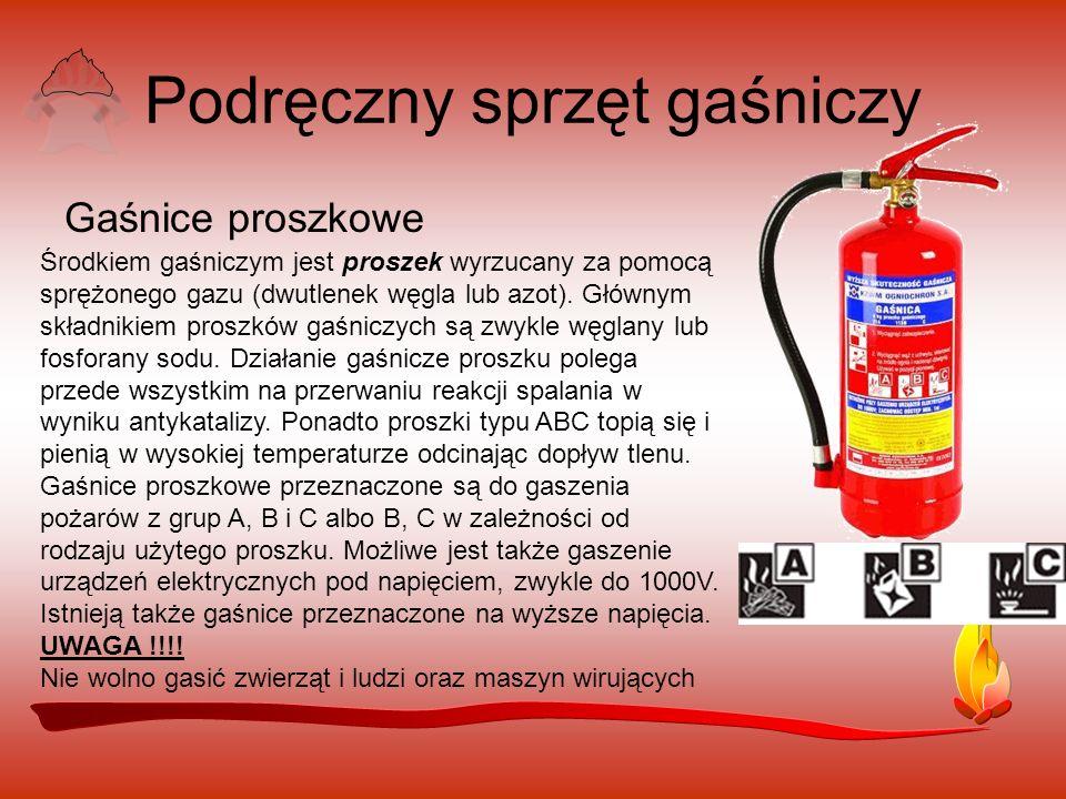 Podręczny sprzęt gaśniczy Gaśnice proszkowe Środkiem gaśniczym jest proszek wyrzucany za pomocą sprężonego gazu (dwutlenek węgla lub azot).