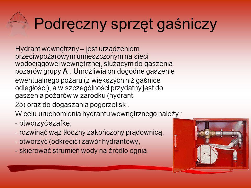 Podręczny sprzęt gaśniczy Hydrant wewnętrzny – jest urządzeniem przeciwpożarowym umieszczonym na sieci wodociągowej wewnętrznej, służącym do gaszenia pożarów grupy A.