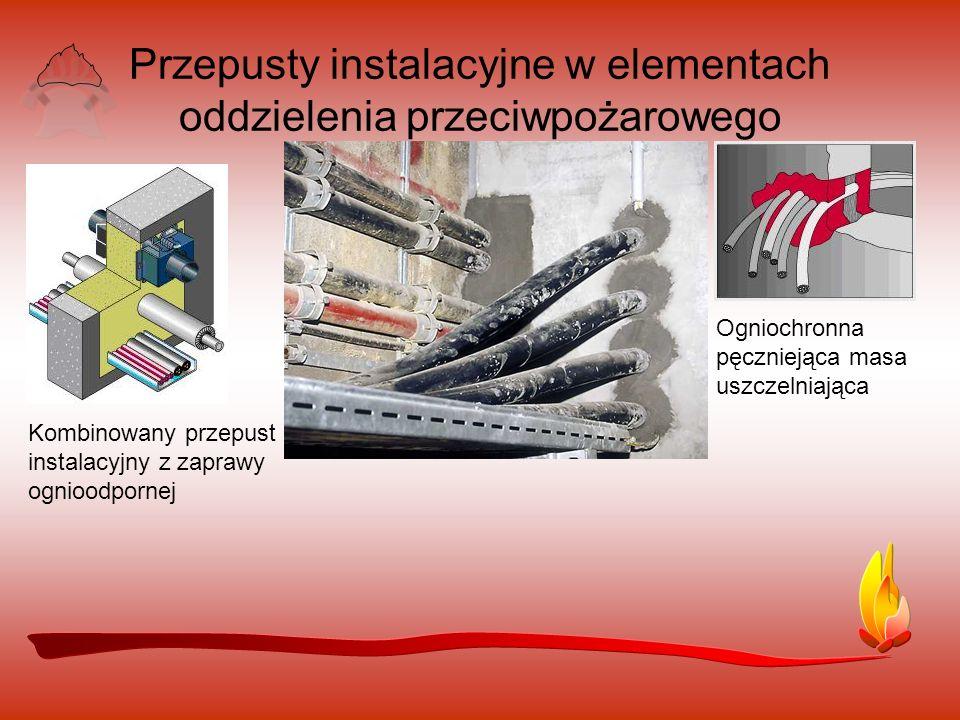 Przepusty instalacyjne w elementach oddzielenia przeciwpożarowego Ogniochronna pęczniejąca masa uszczelniająca Kombinowany przepust instalacyjny z zaprawy ognioodpornej
