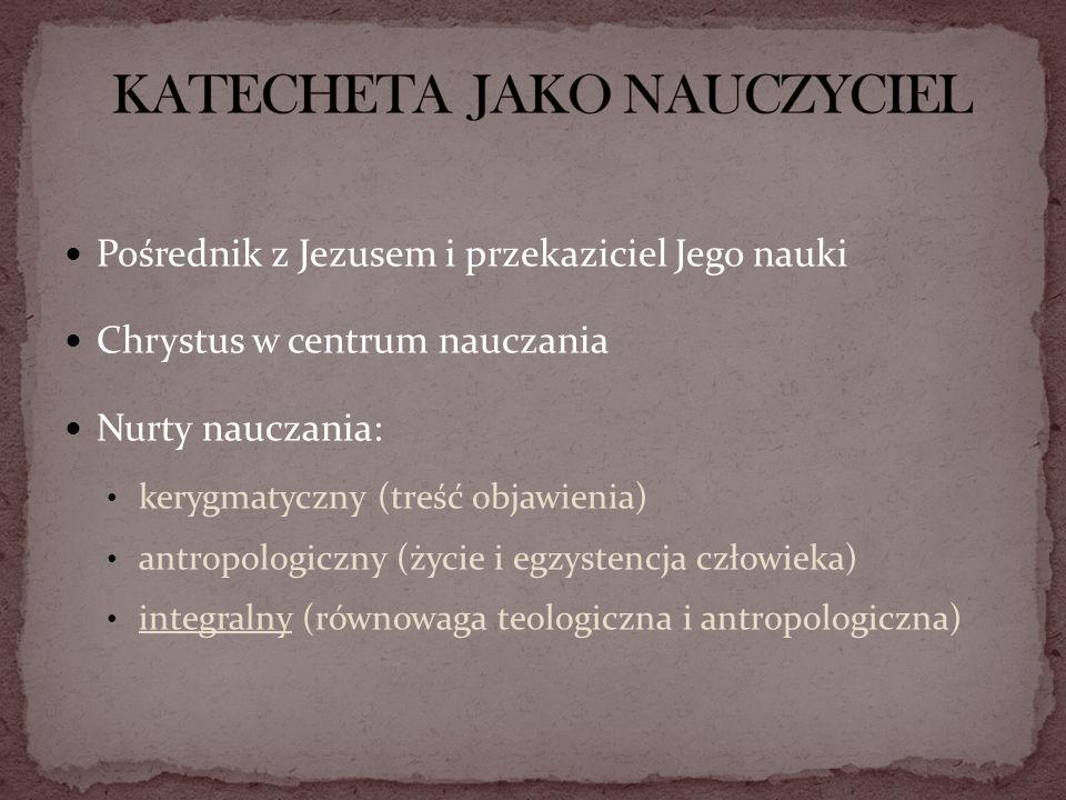 Pośrednik z Jezusem i przekaziciel Jego nauki Chrystus w centrum nauczania Nurty nauczania: kerygmatyczny (treść objawienia) antropologiczny (życie i