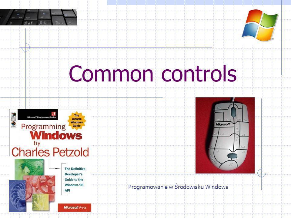 Odczyt / zapis pliku OPENFILENAME lpstrFilter – filtr plików lpstrFile – pełna ścieżka do pliku (we/wy) lpstrFileTitle – tylko nazwa pliku (NULL) lpstrInitialDir – folder domyślny lpstrDefExt – domyślne rozszerzenie (dopisywane) Programowanie w Środowisku Windows