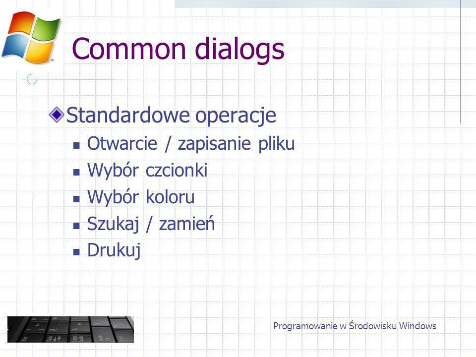 Common dialogs Standardowe operacje Otwarcie / zapisanie pliku Wybór czcionki Wybór koloru Szukaj / zamień Drukuj Programowanie w Środowisku Windows