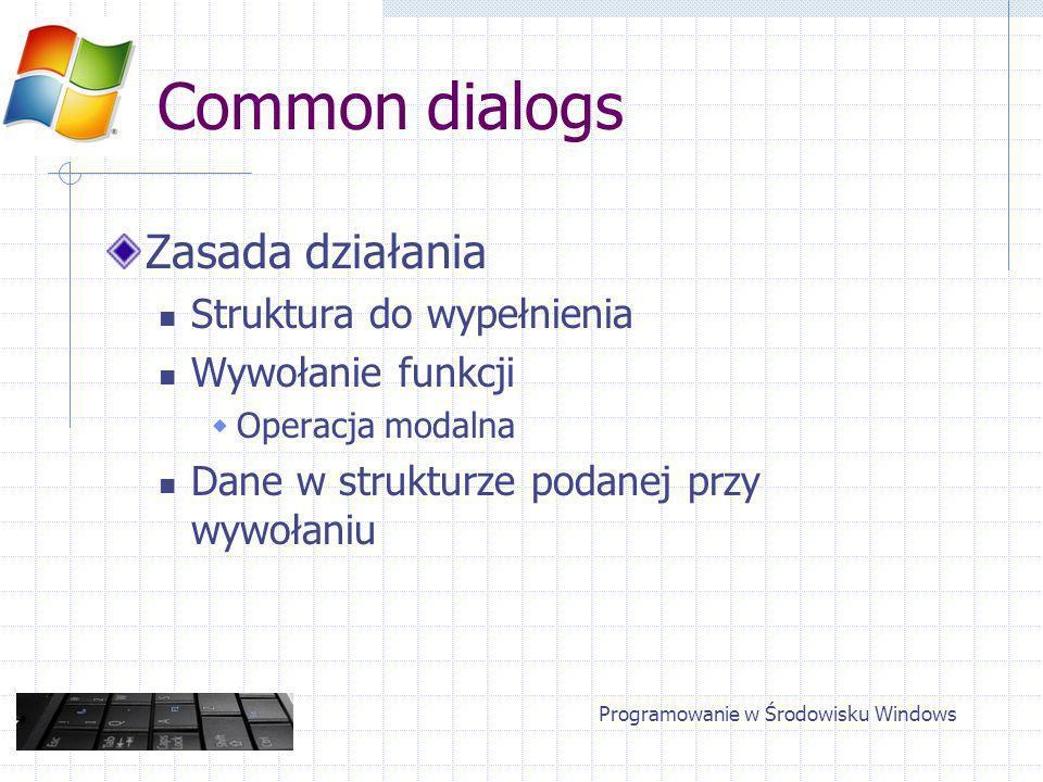 Common dialogs Zasada działania Struktura do wypełnienia Wywołanie funkcji Operacja modalna Dane w strukturze podanej przy wywołaniu Programowanie w Środowisku Windows