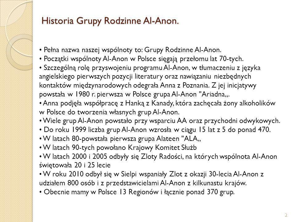 Historia Grupy Rodzinne Al-Anon. 2 Pełna nazwa naszej wspólnoty to: Grupy Rodzinne Al-Anon. Początki wspólnoty Al-Anon w Polsce sięgają przełomu lat 7