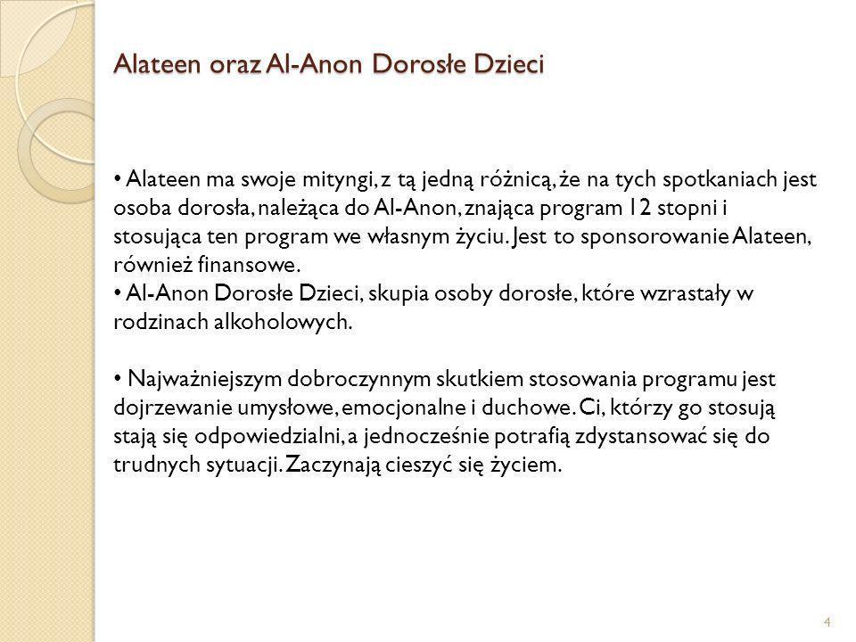 Alateen oraz Al-Anon Dorosłe Dzieci 4 Alateen ma swoje mityngi, z tą jedną różnicą, że na tych spotkaniach jest osoba dorosła, należąca do Al-Anon, zn