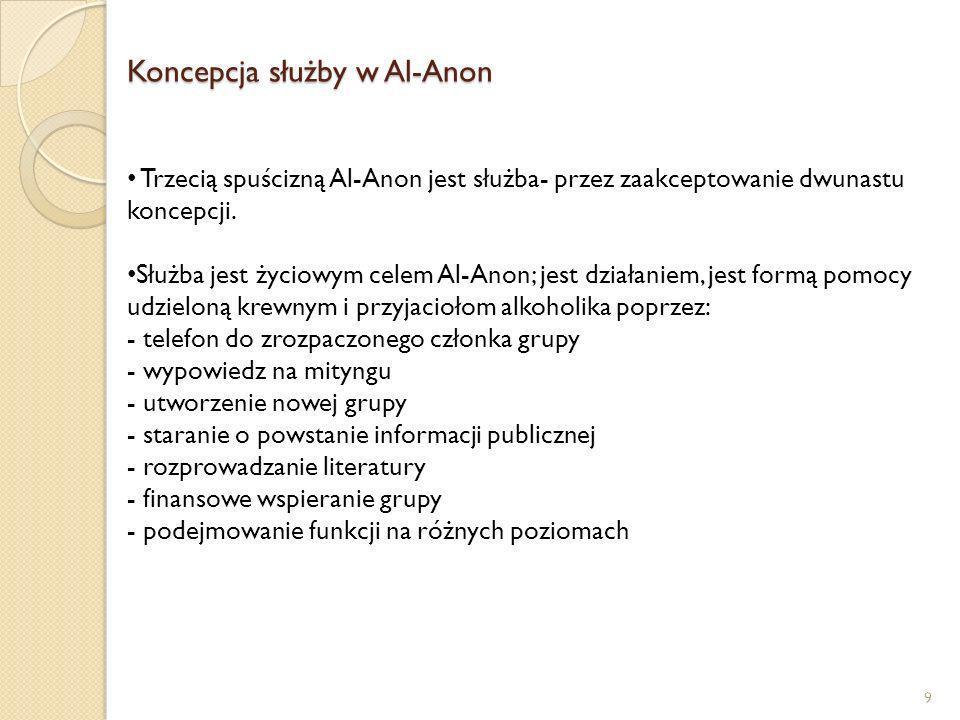Koncepcja służby w Al-Anon 9 Trzecią spuścizną Al-Anon jest służba- przez zaakceptowanie dwunastu koncepcji. Służba jest życiowym celem Al-Anon; jest
