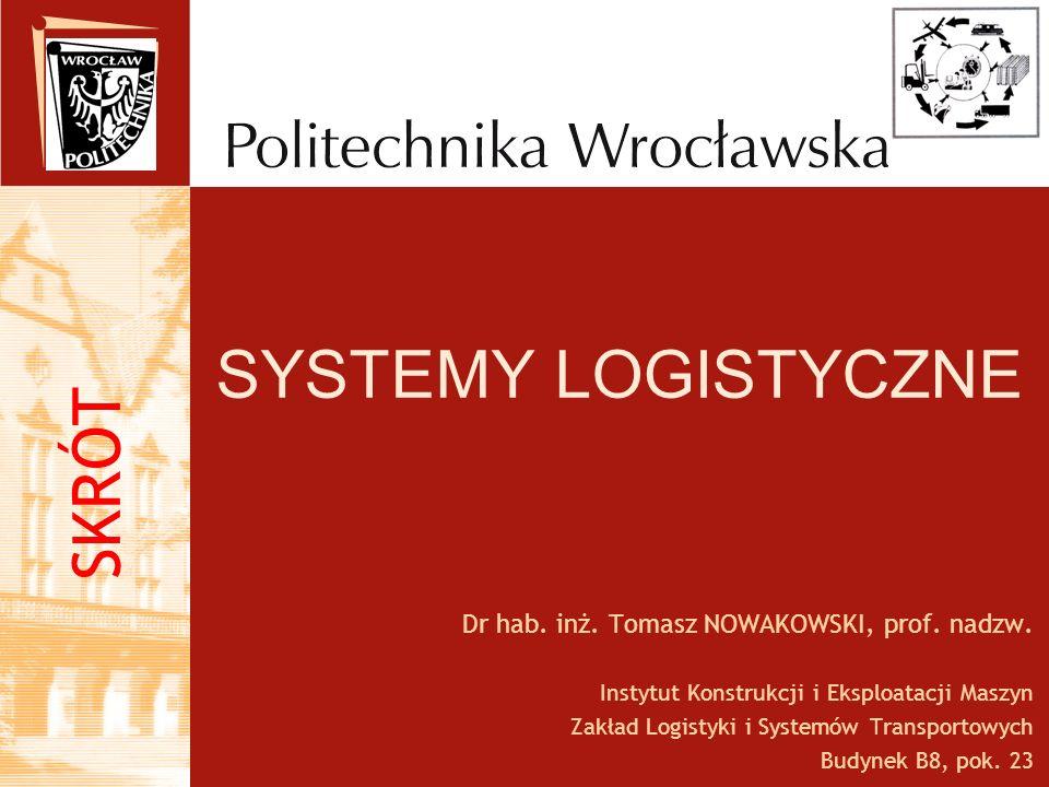 SYSTEMY LOGISTYCZNE Dr hab. inż. Tomasz NOWAKOWSKI, prof. nadzw. Instytut Konstrukcji i Eksploatacji Maszyn Zakład Logistyki i Systemów Transportowych