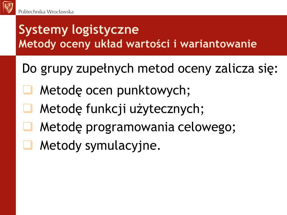 Do grupy zupełnych metod oceny zalicza się: Metodę ocen punktowych; Metodę funkcji użytecznych; Metodę programowania celowego; Metody symulacyjne. Sys