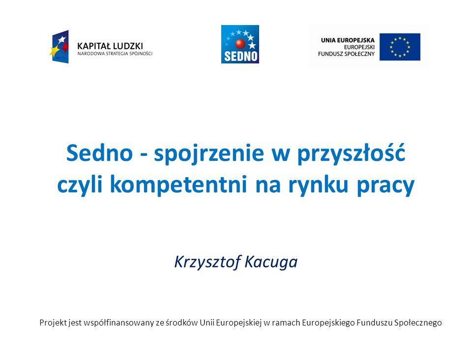 Sedno - spojrzenie w przyszłość czyli kompetentni na rynku pracy Krzysztof Kacuga Projekt jest współfinansowany ze środków Unii Europejskiej w ramach