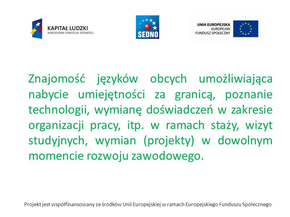 Znajomość języków obcych umożliwiająca nabycie umiejętności za granicą, poznanie technologii, wymianę doświadczeń w zakresie organizacji pracy, itp.
