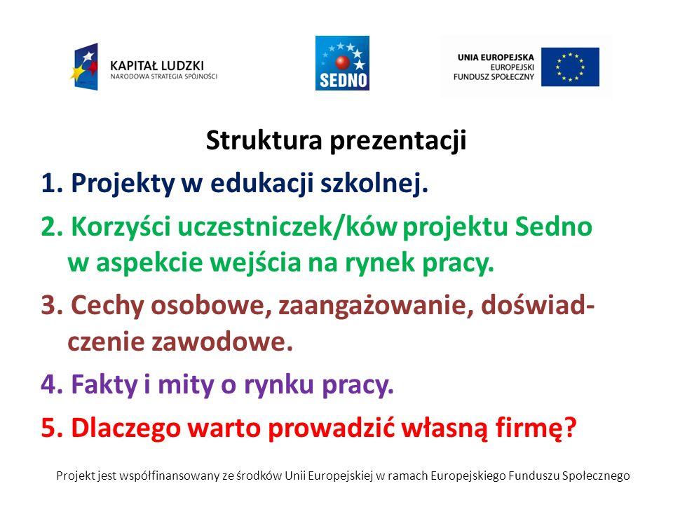 Struktura prezentacji 1. Projekty w edukacji szkolnej. 2. Korzyści uczestniczek/ków projektu Sedno w aspekcie wejścia na rynek pracy. 3. Cechy osobowe
