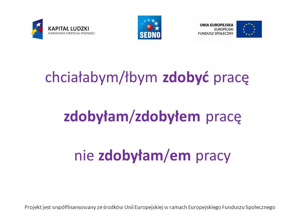 chciałabym/łbym zdobyć pracę zdobyłam/zdobyłem pracę nie zdobyłam/em pracy Projekt jest współfinansowany ze środków Unii Europejskiej w ramach Europej