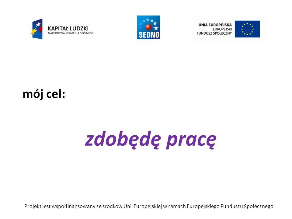 mój cel: zdobędę pracę Projekt jest współfinansowany ze środków Unii Europejskiej w ramach Europejskiego Funduszu Społecznego