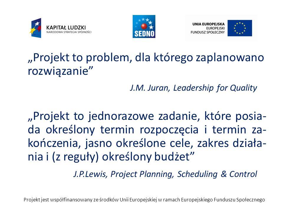 Projekt to problem, dla którego zaplanowano rozwiązanie J.M. Juran, Leadership for Quality Projekt to jednorazowe zadanie, które posia- da określony t