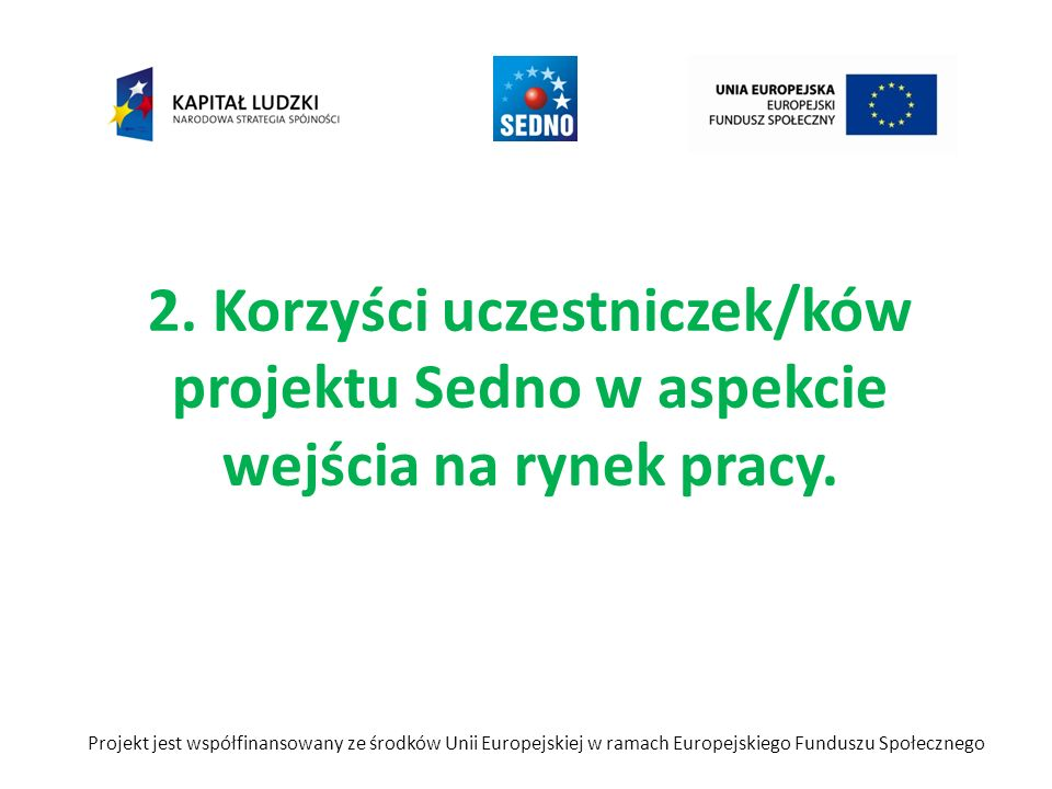 2. Korzyści uczestniczek/ków projektu Sedno w aspekcie wejścia na rynek pracy. Projekt jest współfinansowany ze środków Unii Europejskiej w ramach Eur