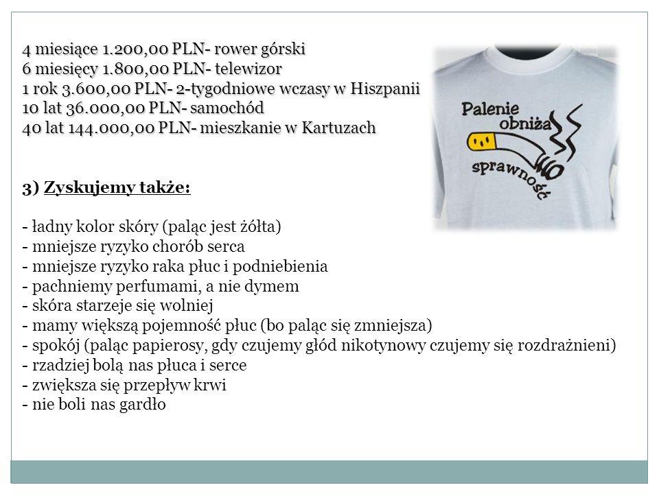 4 miesiące 1.200,00 PLN- rower górski 6 miesięcy 1.800,00 PLN- telewizor 1 rok 3.600,00 PLN- 2-tygodniowe wczasy w Hiszpanii 10 lat 36.000,00 PLN- sam