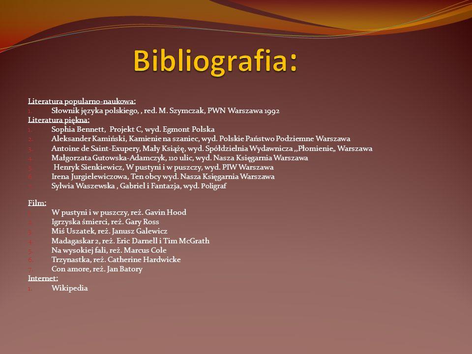 Literatura popularno-naukowa: 1. Słownik języka polskiego,, red. M. Szymczak, PWN Warszawa 1992 Literatura piękna: 1. Sophia Bennett, Projekt C, wyd.
