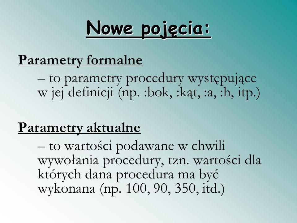 Nowe pojęcia: Parametry formalne – to parametry procedury występujące w jej definicji (np. :bok, :kąt, :a, :h, itp.) Parametry aktualne – to wartości