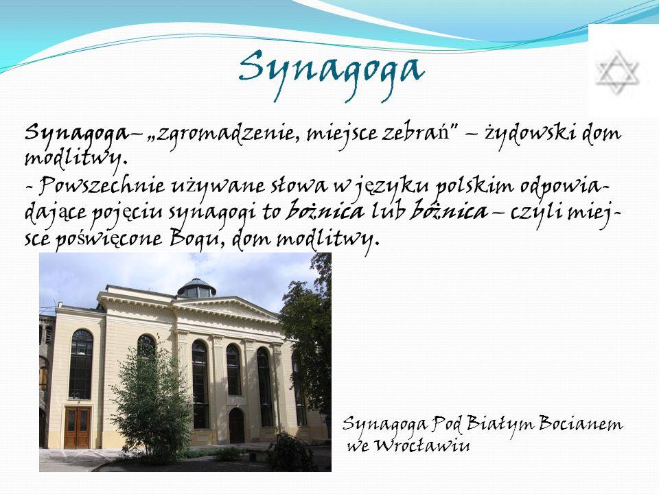 Synagoga Synagoga– zgromadzenie, miejsce zebra ń