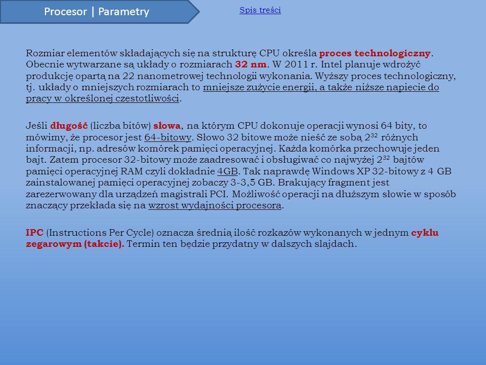 Rozmiar elementów składających się na strukturę CPU określa proces technologiczny.