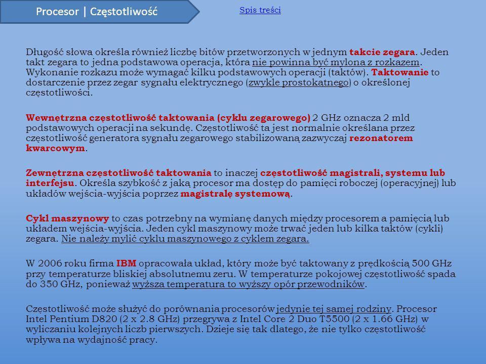 Wzór) Wewnętrzna częstotliwość taktowania = Zewnętrzna częstotliwość taktowania * mnożnik.