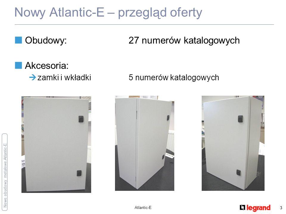 Nowe obudowy metalowe Atlantic-E Atlantic-E 4 Podstawowe dane techniczne Obudowy wykonane ze stali dostarczane z płytą montażową pełną, przewodem ochronnym i uchwytami do mocowania na ścianie Stopnie ochrony: IP 66, IK 10 uszczelka poliuretanowa drzwi i płyty przepustów kablowych: zapewnienie wysokiego stopnia ochrony Kolor RAL 7035 Optymalna oferta obudów 1-drzwiowych (tylko drzwi pełne): 27 wielkości wymiarowych wymiary od 300x200x150 mm do 1200x800x300 mm (Wys/Szer/Gł) Jakość na poziomie aktualnej oferty Atlantic Pokrywana proszkowo powłoką poliestrową o grubości 80 μm Sztywna i wytrzymała konstrukcja Zgodność z akcesoriami aktualnej oferty obudów (Atlantic, Marina,…) Nowy Atlantic-E – charakterystyka