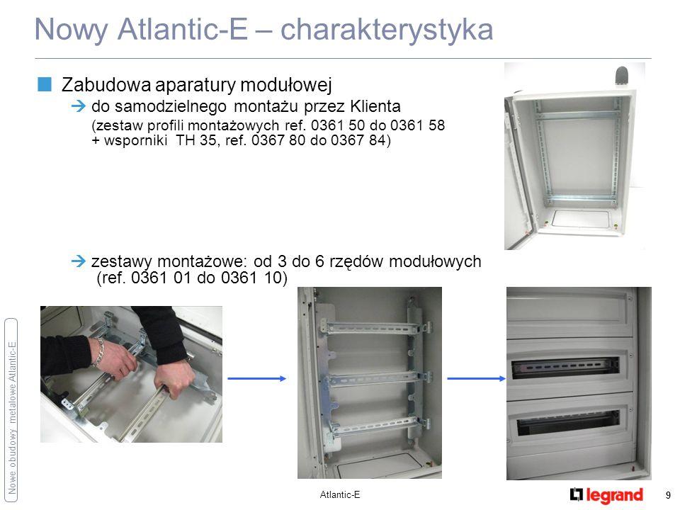 Nowe obudowy metalowe Atlantic-E Atlantic-E 10 Najważniejsze zalety Prosta zabudowa elementów duża ilość wewnętrznej przestrzeni użytkowej bezpośredni i łatwy montaż wyposażenia wewnętrznego (płyty, wsporniki, zestawy szyn modułowych) Drzwi: z jednym ( do wys.