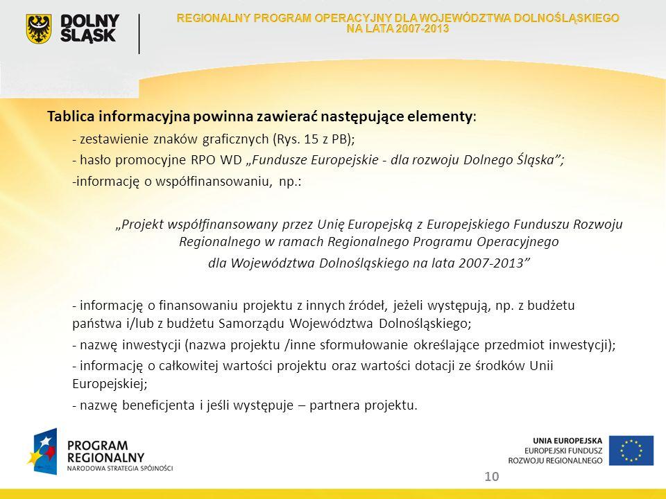10 Tablica informacyjna powinna zawierać następujące elementy: - zestawienie znaków graficznych (Rys. 15 z PB); - hasło promocyjne RPO WD Fundusze Eur