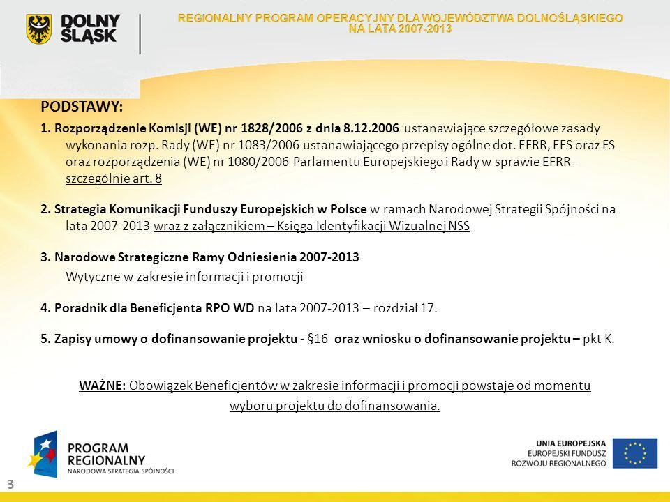 3 PODSTAWY: 1. Rozporządzenie Komisji (WE) nr 1828/2006 z dnia 8.12.2006 ustanawiające szczegółowe zasady wykonania rozp. Rady (WE) nr 1083/2006 ustan