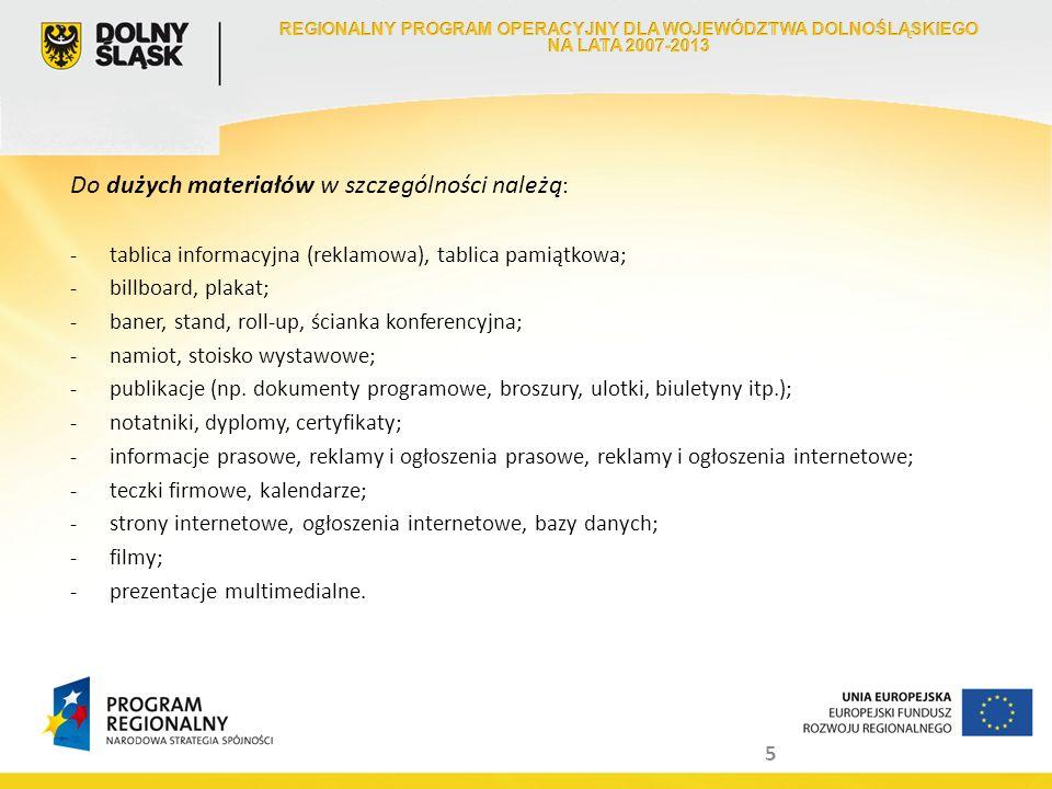 6 Obowiązkowe logotypy i informacje - wariant minimalny : - logo Unii Europejskiej ze słownym odwołaniem do Unii Europejskiej i Europejskiego Funduszu Rozwoju Regionalnego; - logo Narodowej Strategii Spójności w formie znaku programu regionalnego; - herb Województwa Dolnośląskiego z logotypem Dolny Śląsk.