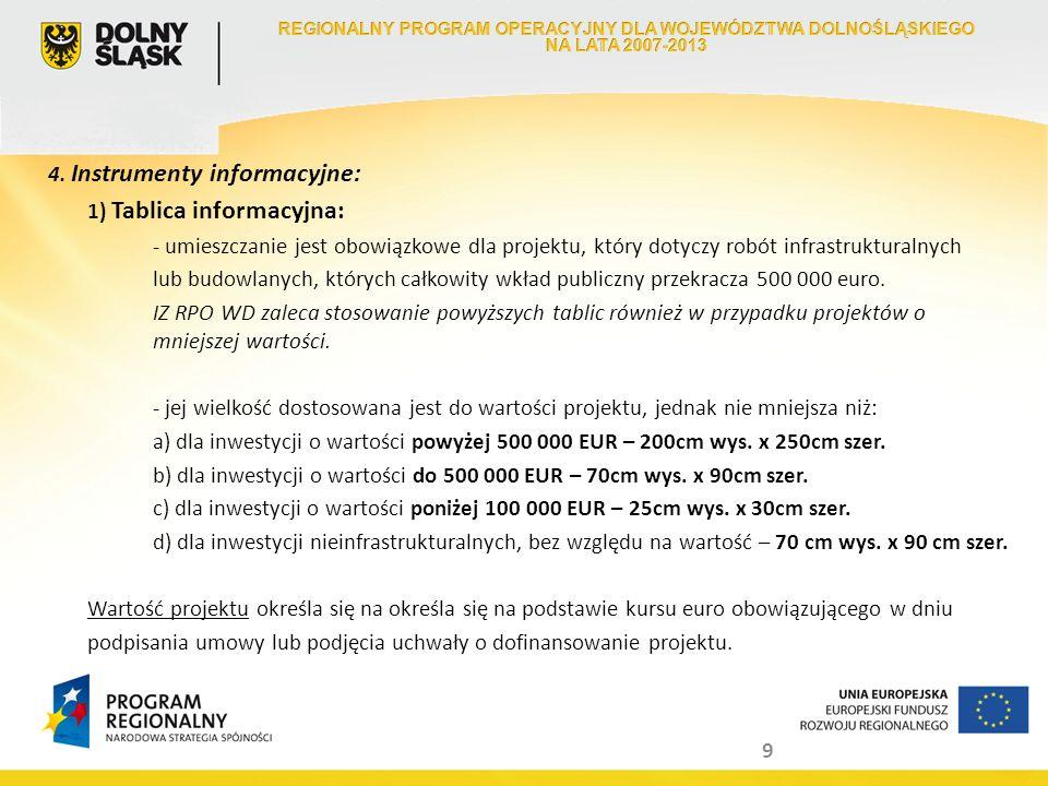 9 4. Instrumenty informacyjne: 1) Tablica informacyjna: - umieszczanie jest obowiązkowe dla projektu, który dotyczy robót infrastrukturalnych lub budo