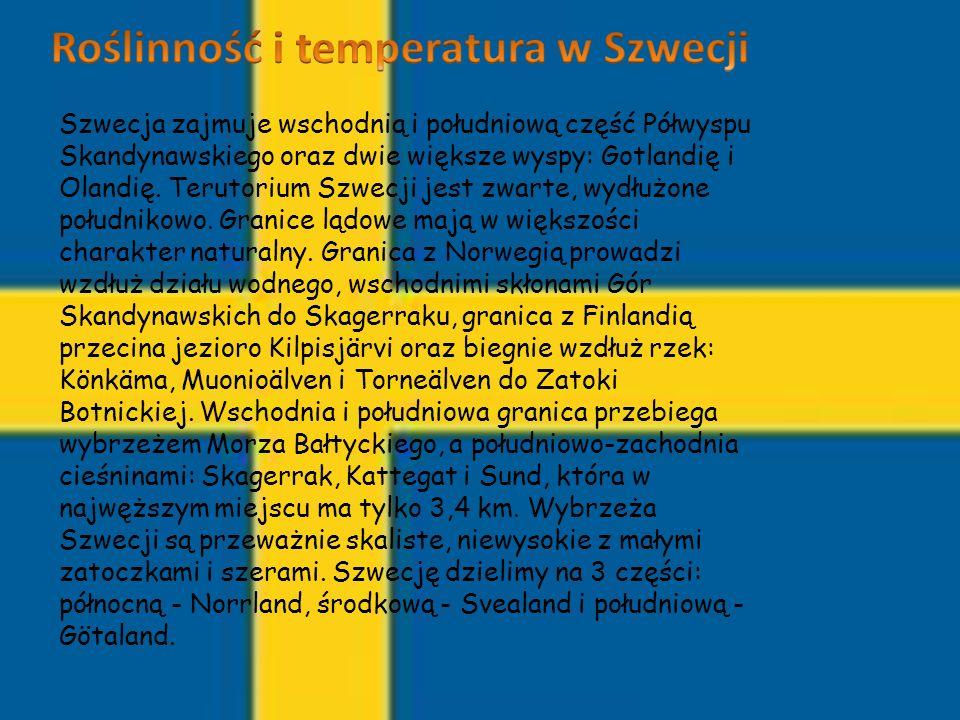 Szwecja zajmuje wschodnią i południową część Półwyspu Skandynawskiego oraz dwie większe wyspy: Gotlandię i Olandię. Terutorium Szwecji jest zwarte, wy