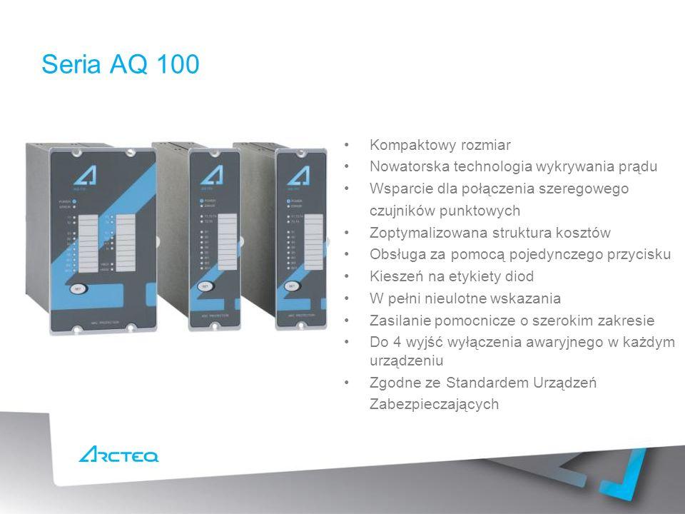 Kompaktowy rozmiar Nowatorska technologia wykrywania prądu Wsparcie dla połączenia szeregowego czujników punktowych Zoptymalizowana struktura kosztów Obsługa za pomocą pojedynczego przycisku Kieszeń na etykiety diod W pełni nieulotne wskazania Zasilanie pomocnicze o szerokim zakresie Do 4 wyjść wyłączenia awaryjnego w każdym urządzeniu Zgodne ze Standardem Urządzeń Zabezpieczających Seria AQ 100