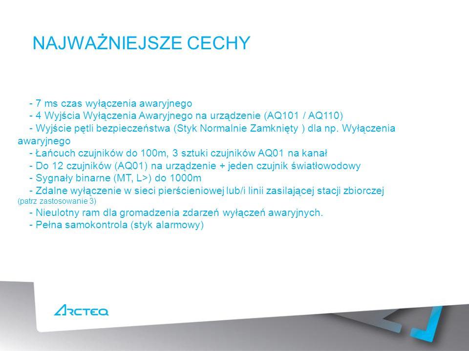 NAJWAŻNIEJSZE CECHY - 7 ms czas wyłączenia awaryjnego - 4 Wyjścia Wyłączenia Awaryjnego na urządzenie (AQ101 / AQ110) - Wyjście pętli bezpieczeństwa (Styk Normalnie Zamknięty ) dla np.