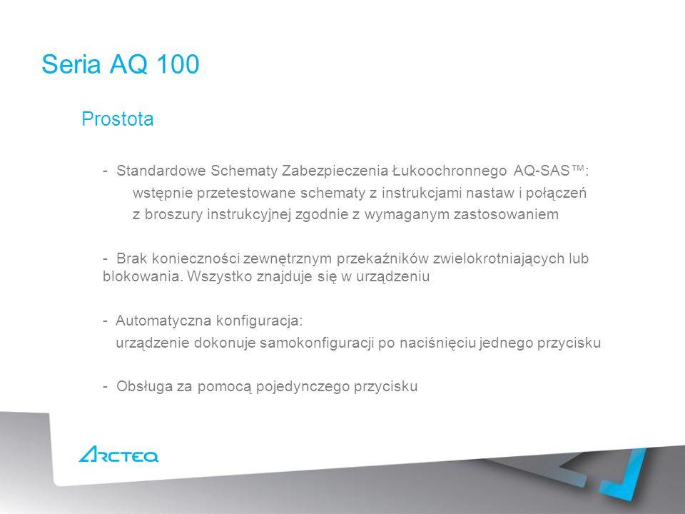 Prostota - Standardowe Schematy Zabezpieczenia Łukoochronnego AQ-SAS: wstępnie przetestowane schematy z instrukcjami nastaw i połączeń z broszury instrukcyjnej zgodnie z wymaganym zastosowaniem - Brak konieczności zewnętrznym przekaźników zwielokrotniających lub blokowania.
