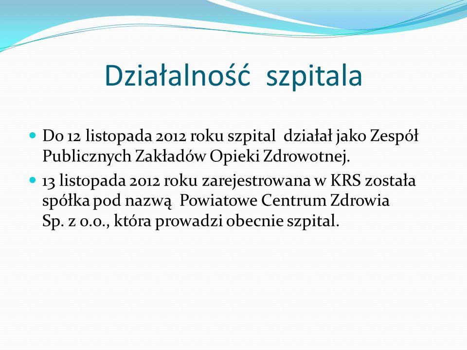 Działalność szpitala Do 12 listopada 2012 roku szpital działał jako Zespół Publicznych Zakładów Opieki Zdrowotnej. 13 listopada 2012 roku zarejestrowa