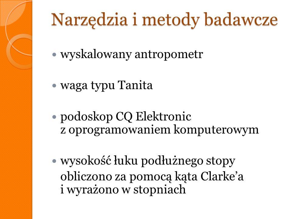 Narzędzia i metody badawcze wyskalowany antropometr waga typu Tanita podoskop CQ Elektronic z oprogramowaniem komputerowym wysokość łuku podłużnego st