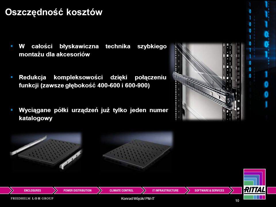 Konrad Wójcik/ PM-IT Oszczędność kosztów Wyciągane półki urządzeń już tylko jeden numer katalogowy 10 W całości błyskawiczna technika szybkiego montaż