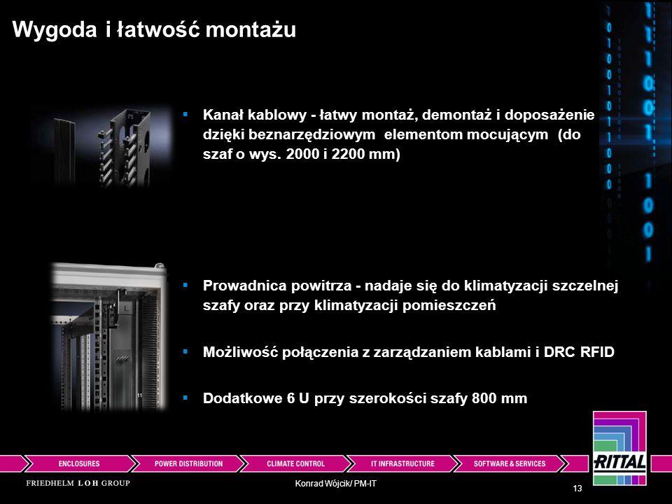 Konrad Wójcik/ PM-IT Wygoda i łatwość montażu Kanał kablowy - łatwy montaż, demontaż i doposażenie dzięki beznarzędziowym elementom mocującym (do szaf