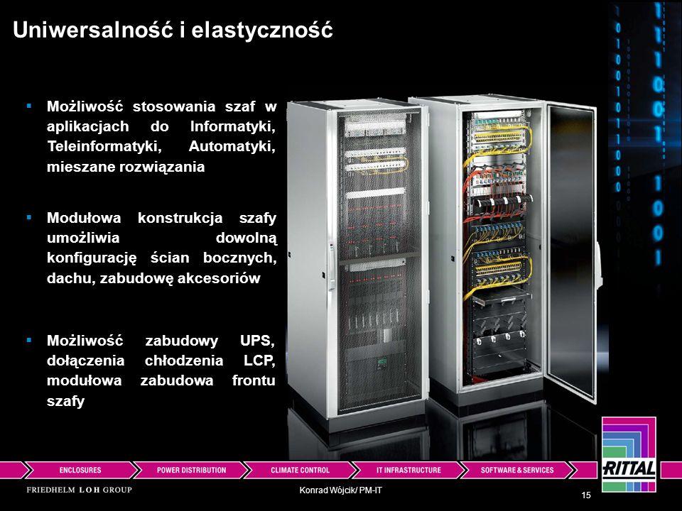 Konrad Wójcik/ PM-IT Uniwersalność i elastyczność 15 Możliwość zabudowy UPS, dołączenia chłodzenia LCP, modułowa zabudowa frontu szafy Możliwość stoso