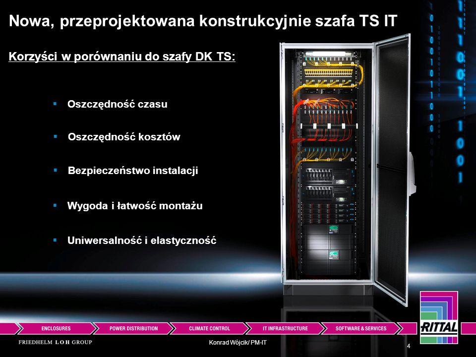 Konrad Wójcik/ PM-IT Nowa, przeprojektowana konstrukcyjnie szafa TS IT Korzyści w porównaniu do szafy DK TS: Oszczędność czasu Oszczędność kosztów Bez