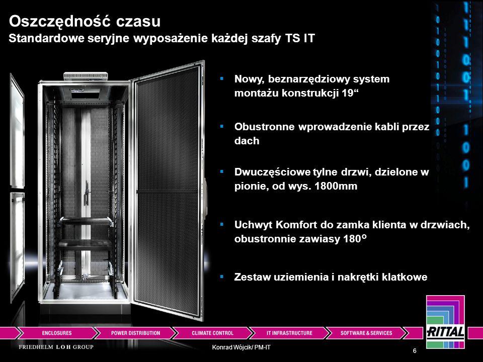 Konrad Wójcik/ PM-IT Oszczędność czasu Standardowe seryjne wyposażenie każdej szafy TS IT Nowy, beznarzędziowy system montażu konstrukcji 19 6 Obustro